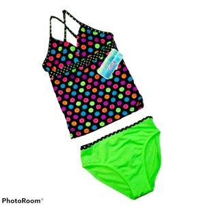 Candy Girl Swimsuit Takini Top Bikini Bottom NWT